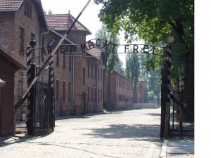 The infamous gate at Auschwitz